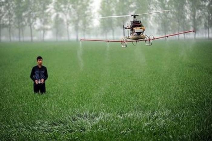 Китайские фермеры будут использовать дроны для опрыскивания посевов