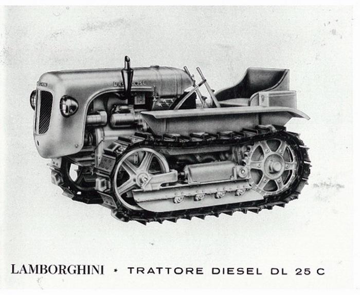 В 1955 году был представлен первый гусеничный трактор Lamborghini DL25C