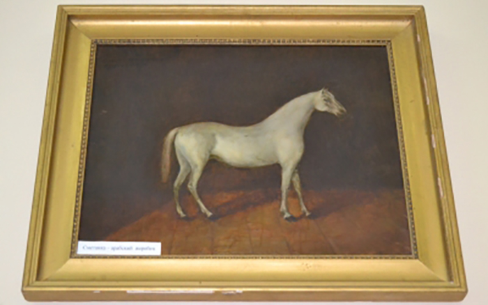 Фото картины неизвестного художника «Арабский жеребец Сметанка».