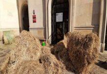 Тюки сена и жидкий навоз: польские фермеры закрыли вход в Минсельхоз страны
